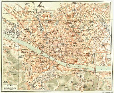 FLORENCE FIRENZE. Vintage town city map plan. Italy 1927 old vintage chart