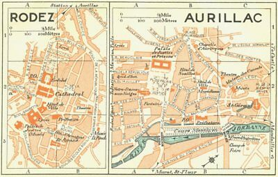 FRANCE. Rodez; Aurillac 1926 old vintage map plan chart