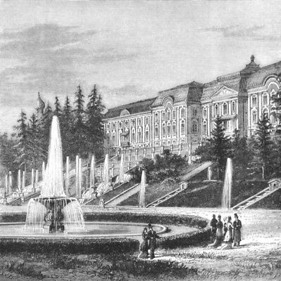 ST PETERSBURG. Imperial Palace of Peterhof c1885 old antique print picture