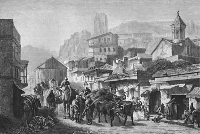 GEORGIA. A St in Tblisi c1885 old antique vintage print picture