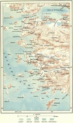 GREECE. Dodecanese Islands; Turkey c1885 old antique vintage map plan chart