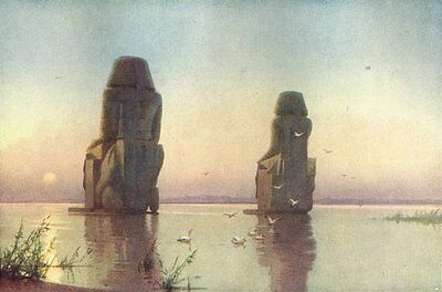 EGYPT. The Colossi of Thebes. Moonrise 1912 old antique vintage print picture