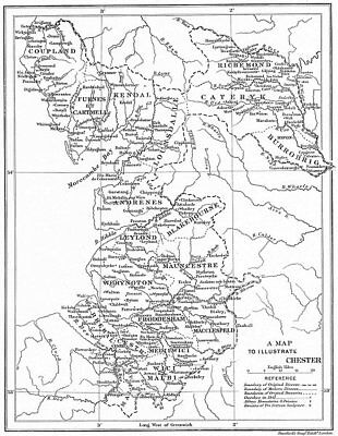 DIOCESE OF CHESTER. Abbeys Churches Priories Monasteries. CHESHIRE 1897 map