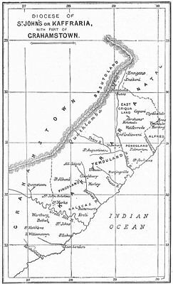 EASTERN CAPE. Anglican Diocese St John's & part of Grahamstown.Church 1897 map
