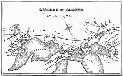 ANGLICAN DIOCESE OF ALGOMA. Great Lakes. Ontario 1897 old antique map chart