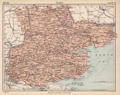 Hertfordshire Britannica 9th Edition 1898 Old County Map Railways Roads