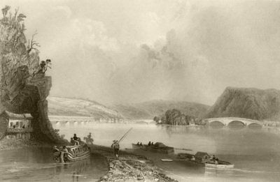 View of Northumberland (on the Susquehanna), Pennsylvania. WH BARTLETT 1840