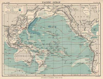 PACIFIC OCEAN.Depth.Surface isotherms.HMS Challenger expedition track 1898 map