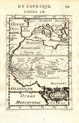 WEST AFRICA Niger/Gambia rivers tribes towns. 'Pays des Negres'. MALLET 1683 map