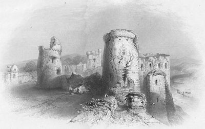 WALES. Kidwelly Castle from Battlements-Bartlett c1860 old antique print