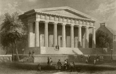 The United States Bank, Philadelphia, Pennsylvania. WH BARTLETT 1840 old print