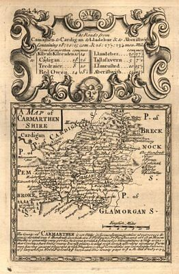 'A Map of Carmarthen Shire'. County map by OWEN & BOWEN. Carmarthenshire 1753