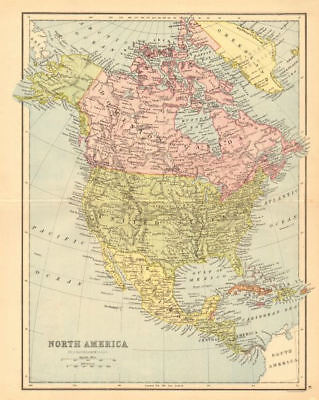NORTH AMERICA. Shows part of Greenland as Canadian. BARTHOLOMEW 1876 old map