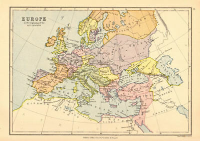 'Europe in the beginning of the 6th Century'. BARTHOLOMEW 1876 old antique map