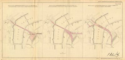 CHARING CROSS STATION plans. Hungerford Bridge Station-on-Thames.BALY 1855 map