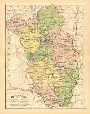 COUNTY KILKENNY. Antique county map. Leinster. Ireland. BARTHOLOMEW c1902