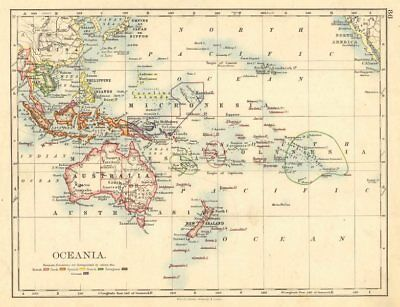 COLONIAL OCEANIA PACIFIC.British Dutch Spanish French German Port. 1899 map