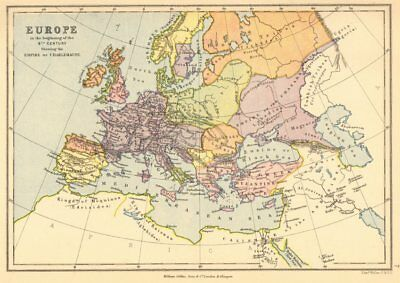 EMPIRE OF CHARLEMAGNE. 'Europe in the beginning of the 9th Century' 1876 map