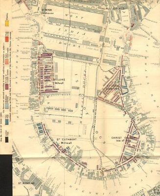 ISLE OF DOGS Booth poverty map Canary Wharf West India Docks Milwall 1902
