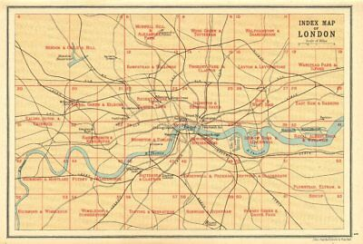 LONDON. Index map of London. Railways. BARTHOLOMEW 1921 old vintage chart