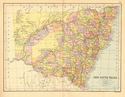 NEW SOUTH WALES. State map. Shows counties/districts/railways. Australia 1876