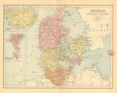 DENMARK. Railways. Iceland Schleswig-Holstein. BARTHOLOMEW 1876 old map