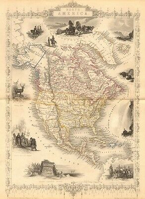NORTH AMERICA. 30 US states. Mexican California. TALLIS/RAPKIN 1849 old map