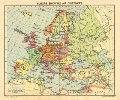 SECOND WORLD WAR. Europe showing air distances. Occupied Poland 1940 old map