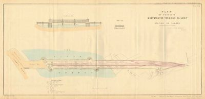 WESTMINSTER TERMINUS RAILWAY 'Station on Thames' proposal. JC HADDAN 1855 map