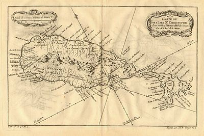 'Carte de l'Isle St. Christophe'. Saint Kitts, Caribbean. BELLIN 1758 old map