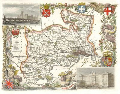 Middlesex antique hand-coloured county map by Thomas Moule c1840 old