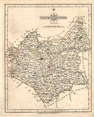 Antique county map of LEICESTERSHIRE by JOHN CARY. Original outline colour 1793