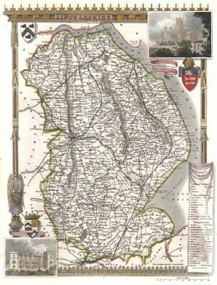 Lincolnshire antique hand-coloured county map. Railways. MOULE c1840 old
