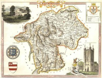 Westmoreland antique hand-coloured county map by Thomas Moule c1840 old