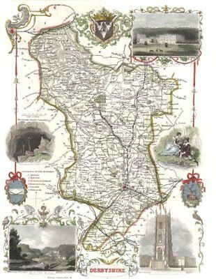 Derbyshire antique hand-coloured county map. Railways. MOULE c1840 old