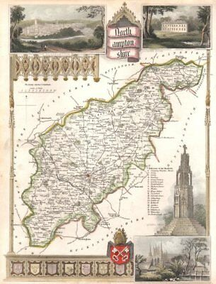 Northamptonshire antique hand-coloured county map. Railways. MOULE c1840