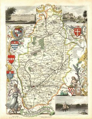 Nottinghamshire antique hand-coloured county map by Thomas Moule c1840 old
