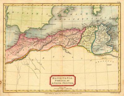 'Mauritania, Numidia, et Africa Propria'. HALL. North Africa Maghreb 1826 map