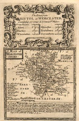 'A Map of Worcester-Shire'. County map by OWEN & BOWEN. Worcestershire 1753