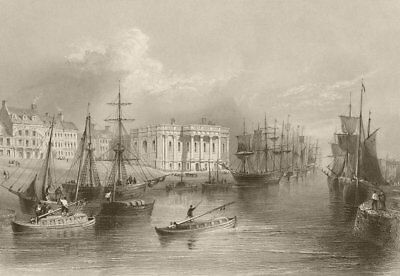 The Quay, Great Yarmouth. Norfolk. BARTLETT 1842 old antique print picture