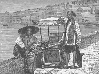 HONG KONG. Chinese porters, Hong Kong 1892 old antique vintage print picture