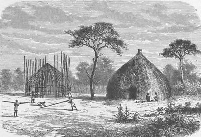 CENTRAL AFRICA. Hut-building in a village of Uhiya, Central Africa 1891 print
