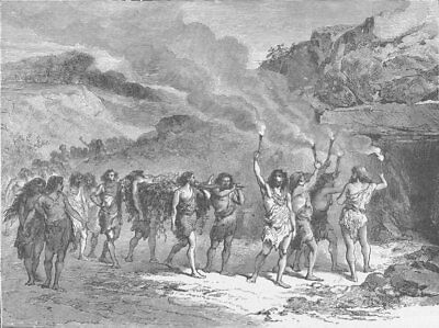 PREHISTORIC. Funeral ceremony during the Palaeolithic Epoch 1893 old print