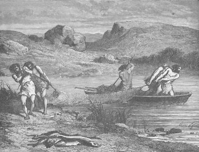 PREHISTORIC. Fishing during the polished stone (Neolithic) Period 1893 print