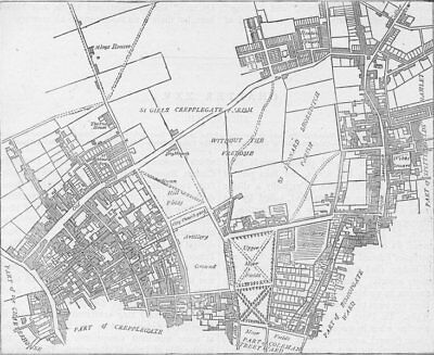 CITY OF LONDON. Moorfields & neighbourhood (from a 1720 map) c1880 old