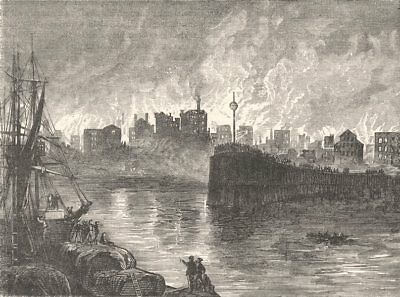 ILLINOIS. The burning of Chicago c1880 old antique vintage print picture