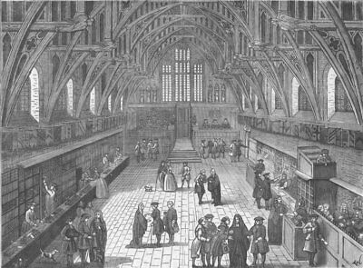 WESTMINSTER. Interior of old Westminster Hall in 1797. London c1880 print