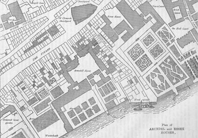THE STRAND. Plan of Arundel and Essex Houses. London c1880 old antique map