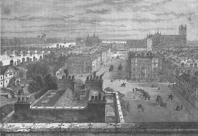 WHITEHALL. Westminster, from the roof of Whitehall in 1807. London c1880 print