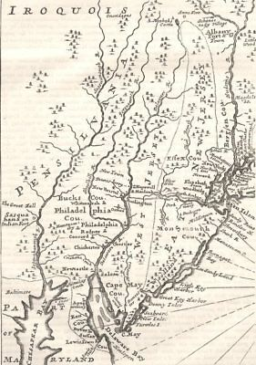 PENNSYLVANIA. in c1700 c1880 old antique vintage map plan chart